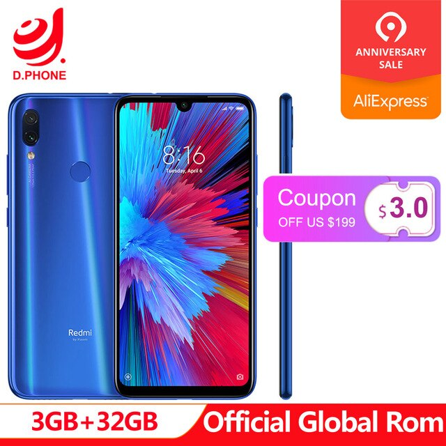 "Official Global Rom Xiaomi Redmi Note 7 3GB RAM 32GB ROM Snapdragon 660 Octa Core 6.3"" FHD+ 48MP Dual Camera 4000mAh Phone"