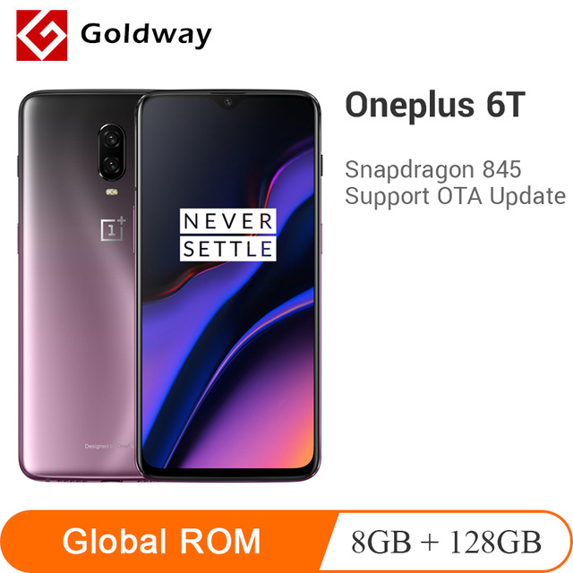 "Original Oneplus 6T 6 T 8GB RAM 128GB ROM Smartphone Snapdragon 845 Octa Core 6.41"" 19.5:9 20MP AI Dual Camera NFC Mobile Phone"