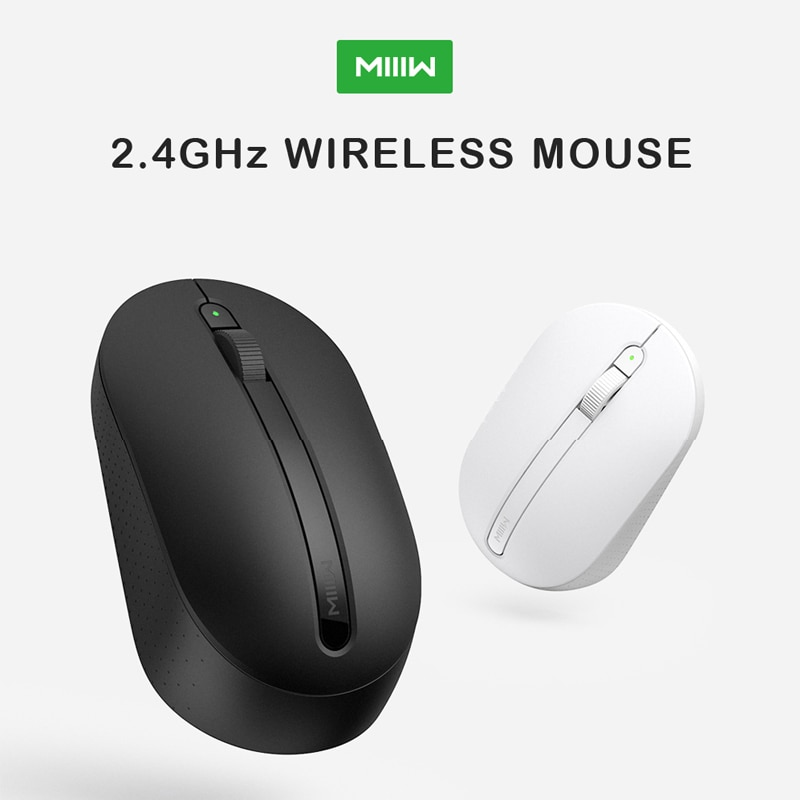 Wireless Mouse MIIIW 2.4GHz 1000DPI Optical Mouse with Power Light for Laptop Work Ergonomic Mice for Gamer